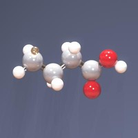 molecule acid butanoic 3d model