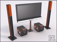 Sony Home Theatre, Low Poly, Textured