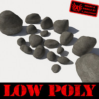 Rocks 2 Low Poly Grey Smooth RS15 - 3D rocks or stones