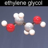 molecule ethylene glycol 3d model