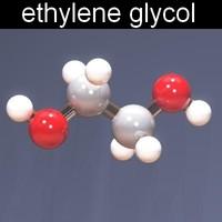 molecule ethylene glycol 3d model