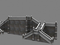 stone exterior staircase 3d model