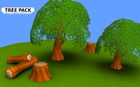 3d model tree stump pack -