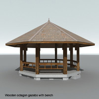 3d Octagon wooden gazebo