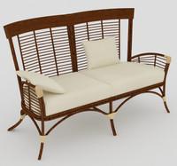 3d model rattan 2 seat sofa
