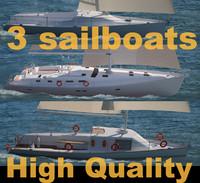 3 sailboats 3d max
