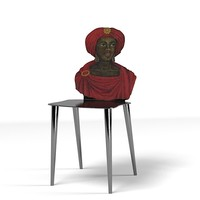 Oriental art dining chair face head back