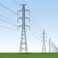 tension power lines 3d model