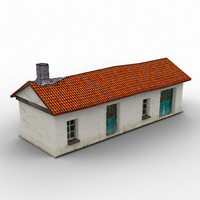 free poligonal old greek house games 3d model