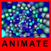 3d model blue spheres animate