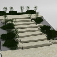 natural stone stair 3d model