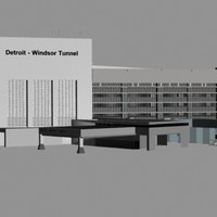 3ds max detroit-windsor tunnel buildings