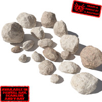 Rocks - Stones 5 Smooth RS09 - Light Tan 3D rocks or stones