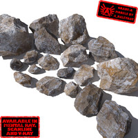 Rocks 8 Jagged RM05 - Mossy or Dirty 3D rocks or stones