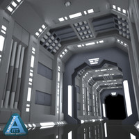 sci-fi corridor 3d model