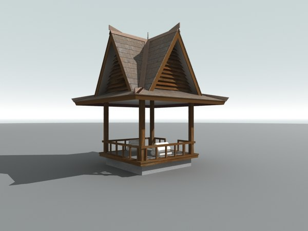 3D Wooden Thai Gazebo