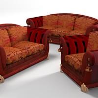 3d classic baroque sofa