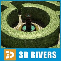 garden maze fountain 3d model