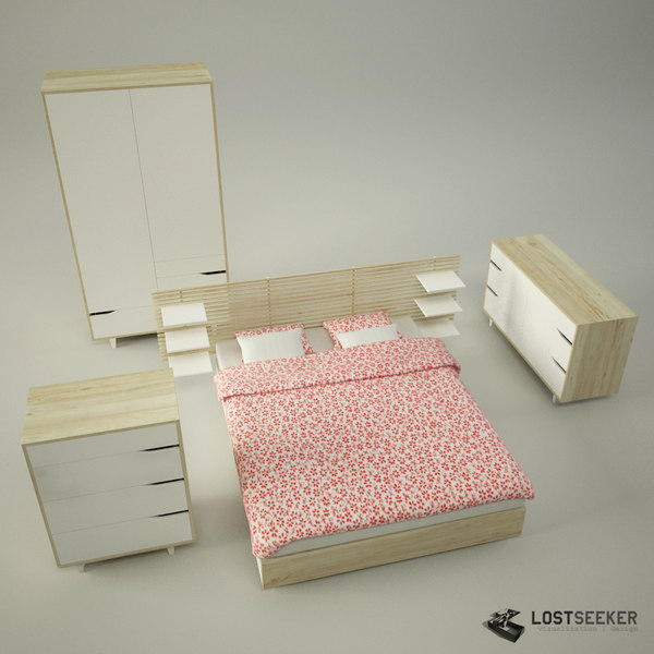Ikea Schrank In Dachschräge ~ models furnishings bed bedroom set 3d models ikea tags ikea mandal bed