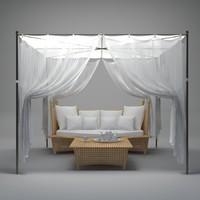 gazebo couch 3d model