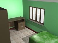 3d bedroom bed model