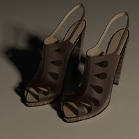feminine heeled shoes 3d model