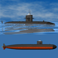 los angeles class submarine 3d model