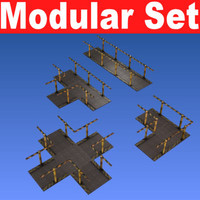 free 3ds model modular set catwalks -