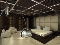 3d bedroom suburban scene model