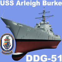 uss arleigh burke ddg-51 3d model
