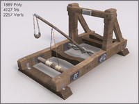 Mounted Catapult, Textured, Low Poly