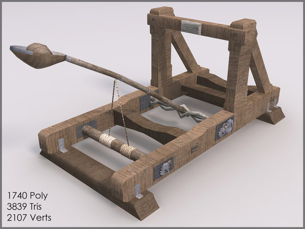 Mounted Catapult II, Low Poly, Textured