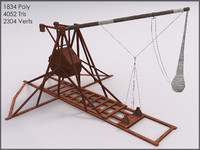 Trebuchet, Textured, Low Poly