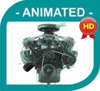 3D Model V8 Engine Fully Animated / Textured / FX -Version 2.2