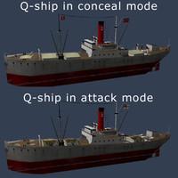 ww1 q-ship ship 3d model