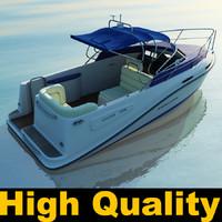 3d model boat motorboat motor