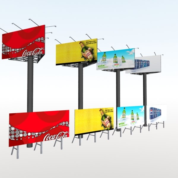 Road signs and bilboards - low poly