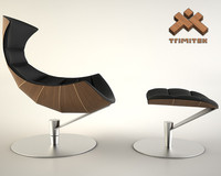 3d model of lobster chair ottoman