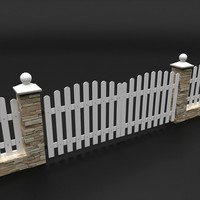 stone fence 3d model