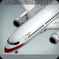737-700 plane privatair 3d model