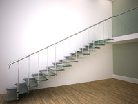 3d model glass stair