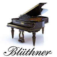 3d grand piano bluthner black
