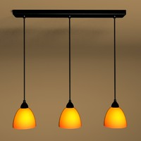 3-Light black pendant