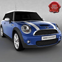 clubman mini car blue 3d max