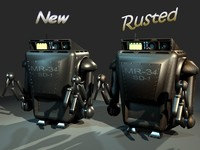 rusty maintenance robot rigging 3d model