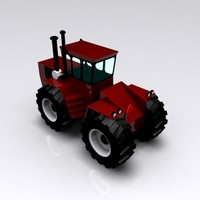 red harvesting tractor 3d model