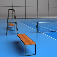 3d model tennis court vinyl