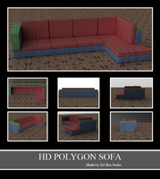 50011 Red and Blue Lined Sofa