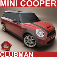 clubman mini car red 3d model