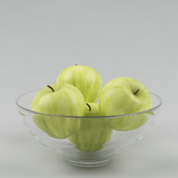 realistic apples glass vase 3d 3ds